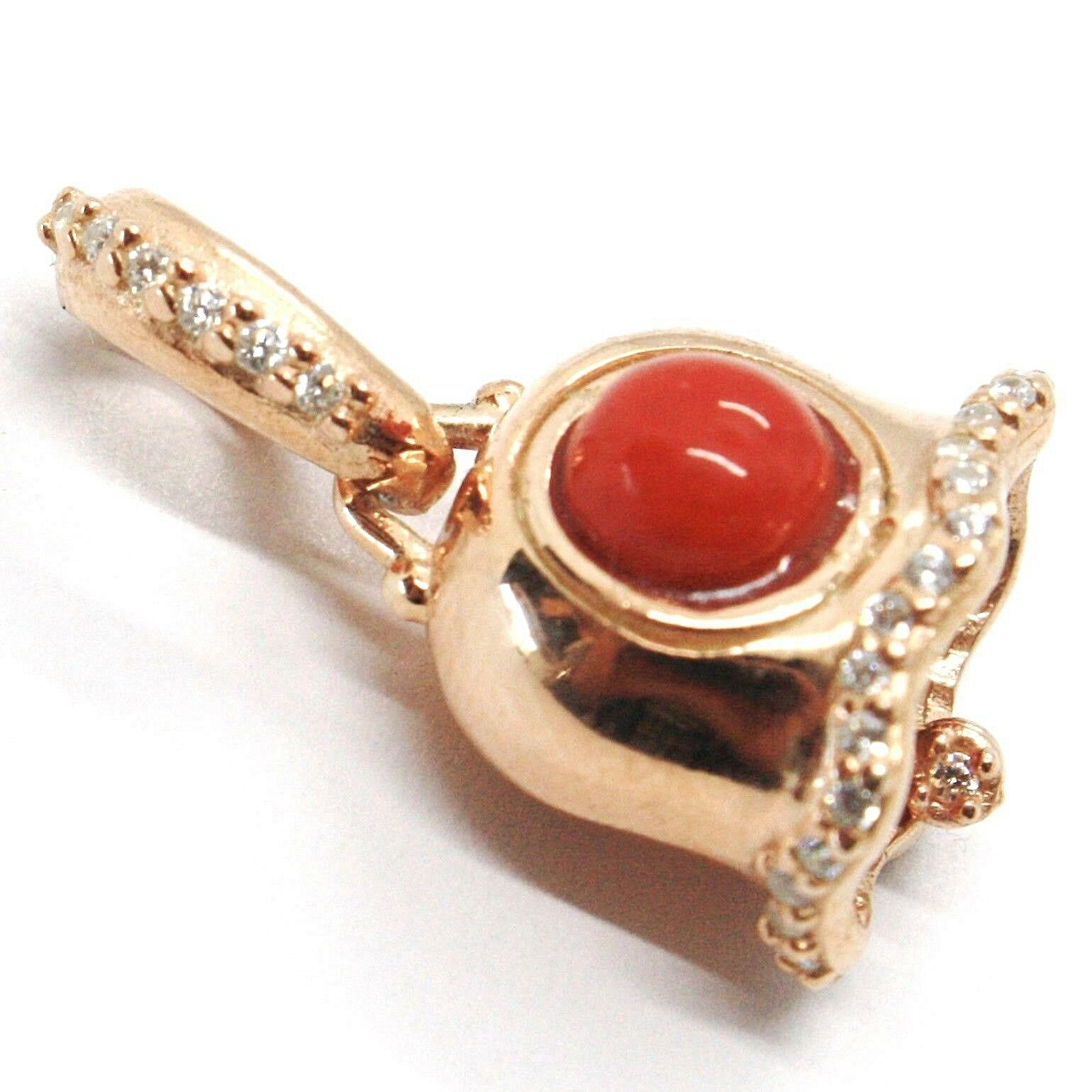 Silver Pendant 925, Little Bell, Bell with Zircon, Coral, Pendant