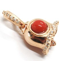 Silver Pendant 925, Little Bell, Bell with Zircon, Coral, Pendant image 1
