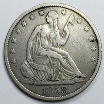 1858O Seated Liberty US Silver Half Dollar Coin Lot 519-124