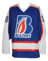 Custom Name # Kamloops Blazers Retro Hockey Jersey New Blue Pickell #18 Any Size image 4