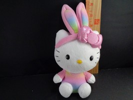 Ty Hello Kitty Beanie Rainbow Dress Easter Bunny Ears Plush Stuffed Anim... - $8.90
