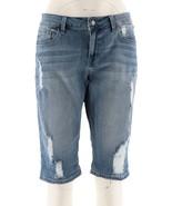 Hot in Hollywood Denim Boyfriend Shorts Zip Button Ocean Blue 18W NEW A2... - $30.67
