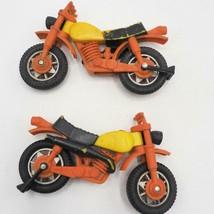 Vintage Lot of 2 Tonka Dirt Bike 1970's Motorcycle Moped Plastic Toy Orange - $14.84