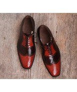 Elegant Men's Stylish Handmade Leather Brown & Tan Shoes, Wingtip Brogue... - $144.99+