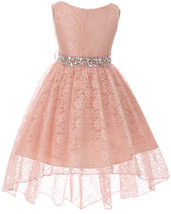 Flower Girl Dress Hi-Low Style Lace Allover Blush MBK 360 - $39.59+