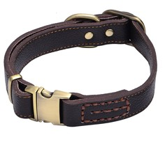 Genuine Leather Pet Dog Collar Durable and Comfortable Adjustable S M L - $24.54