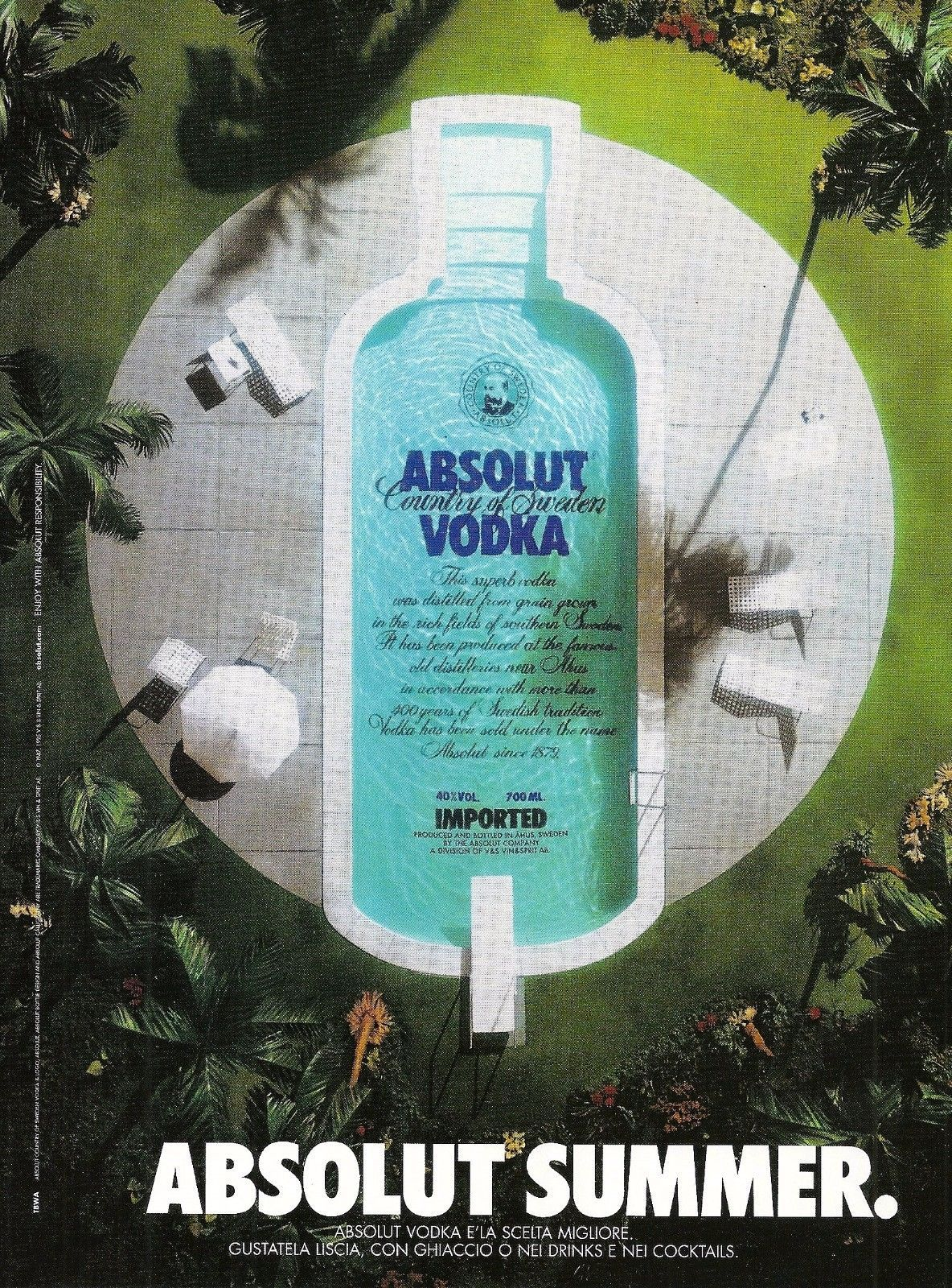 Primary image for ABSOLUT SUMMER Vodka Magazine Ad from Italy RARE!