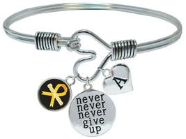 Custom Sarcoma Awareness Ribbon Never Give Up Bracelet Choose Initial or Family - $18.04