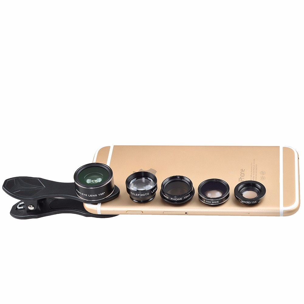 Universal 5 in 1 Camera Lens Kit Fish Eye Lens Macro Lens,Wide Angle Lens + CPL