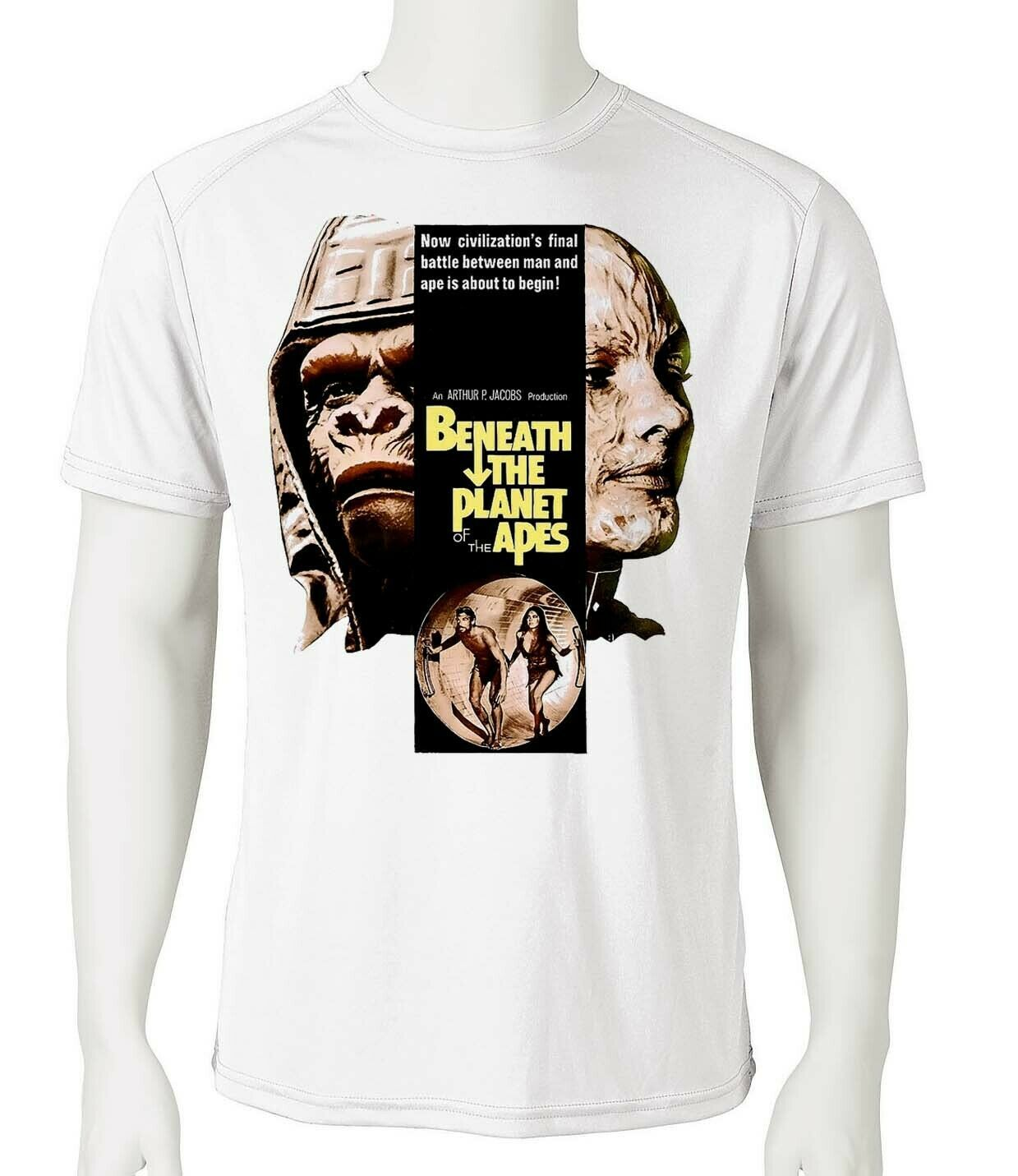 Beneath Planet Apes Dri Fit graphic T-shirt retro 80s sci fi movie SPF sun shirt