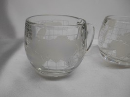 Old Vtg NESTLE NESCAFE COFFEE CUPS ETCHED GLASS WORLD GLOBE ADVERTISING ... - $49.49