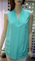 ELLEN TRACY Semi-Sheer Seafoam Green Sleeveless Summer Blouse/Top (M) NEW - $9.70