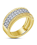 14k Yellow Gold Finish 925 Sterling Silver Mens Anniversary Diamond Band... - $92.99