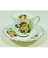 Vintage Old Royal Bone China Tea Cup and Saucer Yellow Purple Flowers Go... - $35.99
