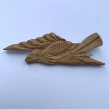 Vintage Wooden Bird Brooch Pin Carved Wood Tropical Handcrafted - $19.75