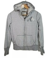 Aeropostale Jacket Hoodie Gray Junior Women M Medium Faux Fur Lining - $29.39