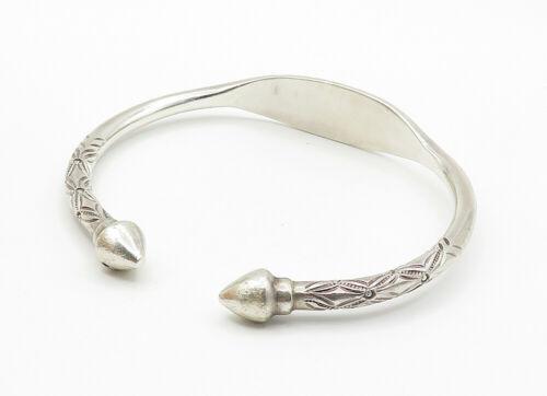 925 Silver & 14K GOLD - Vintage Floral Detail Pointed Cuff Bracelet - B6217 image 3