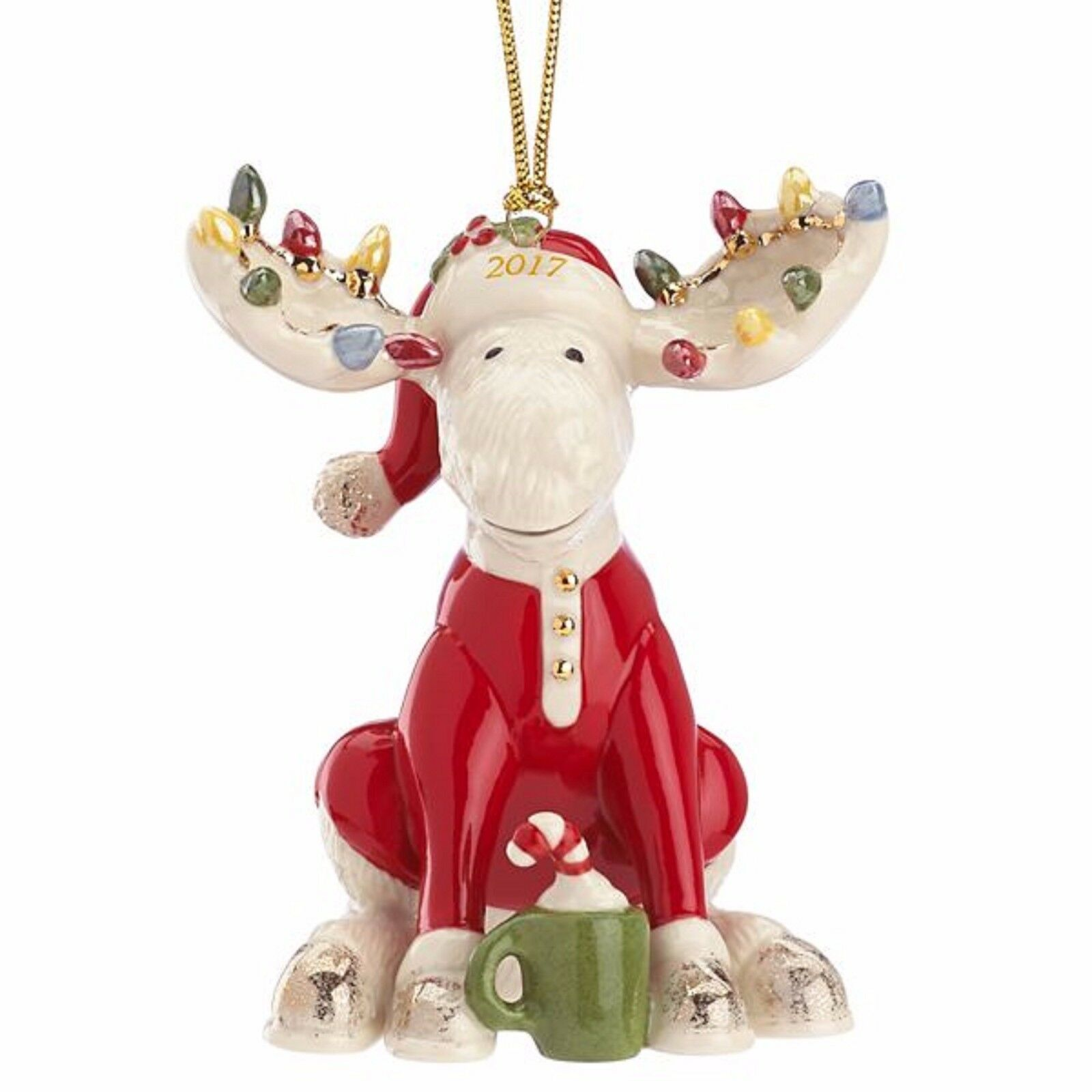 Lenox 2017 Moose Ornament Figurine Annual Marcel The Bedtime PJ's Christmas NEW