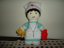 NURSE DOLL Handmade Knitted with Rosary Beads - $28.85