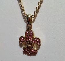 Cookie Lee Pink Crystal Fleu De Lis Pendant Goldtone Necklace image 5
