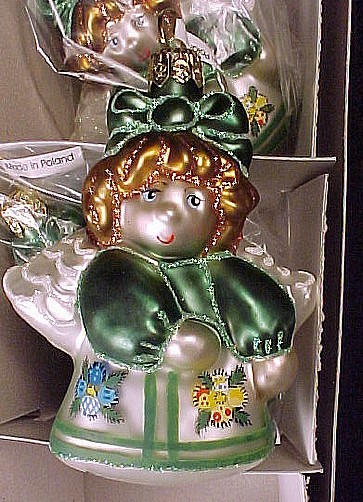 6 Cherry Design Angel Blown Glass Christmas Tree Ornaments Pansy Applique in Box