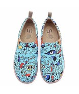 UIN Women's Blue Ocean Painted Canvas Loafer Shoes Blue 5.5 - $61.93