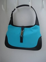 ~New~ GUCCI Turquoise Canvas/Black Box Leather SHW JackieO Shoulder Bag - $699.99