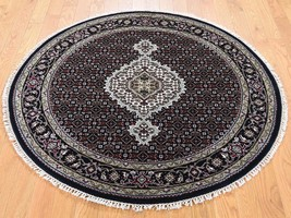 "4'1""x4'1"" HandKnotted Wool And Silk Mahi Round Oriental Village Rug G43762 - $310.48"