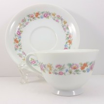 Noritake Nippon Toki Kaisha Cup and Saucer White Multi-Colored Floral Mi... - $13.86