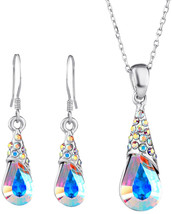 Neoglory Aurora Borealis Crystal Jewelry Set Teardrop Necklace Earrings ... - $48.53