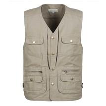 Grandwish 100% Cotton Multi Pocket Vest Men Summer 2018 New Male Sleevel... - $41.54