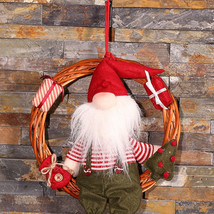 Christmas Hanging Rattan Door Wreath Ring Snowman Santa Claus Decor Pend... - £7.79 GBP+