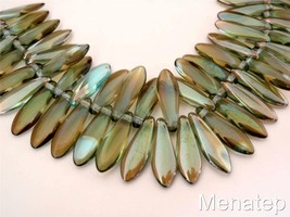 25 5 x 16mm Czech Glass Dagger Beads: Aquamarine - Celsian - $3.15