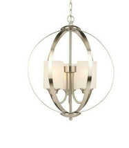 3-Light Brushed Nickel Chandelier w/ Etched White Glass Shades by Hampto... - $82.76