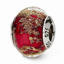 Sterling Silver s Red/gold Italian Murano Bead by Reflection Beads - $25.26