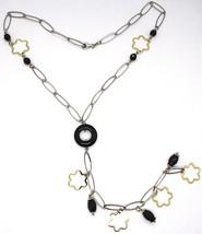 925 Silber Halskette, Onyx Schwarz,Anhänger Blume,Margerite,Wasserfall image 2