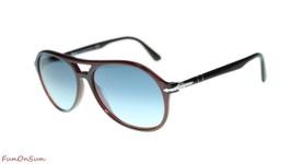 Persol Mens Sunglasses PO3194S 1075Q8 Brown/Azure Gradient Blue Pilot 59mm - $193.03