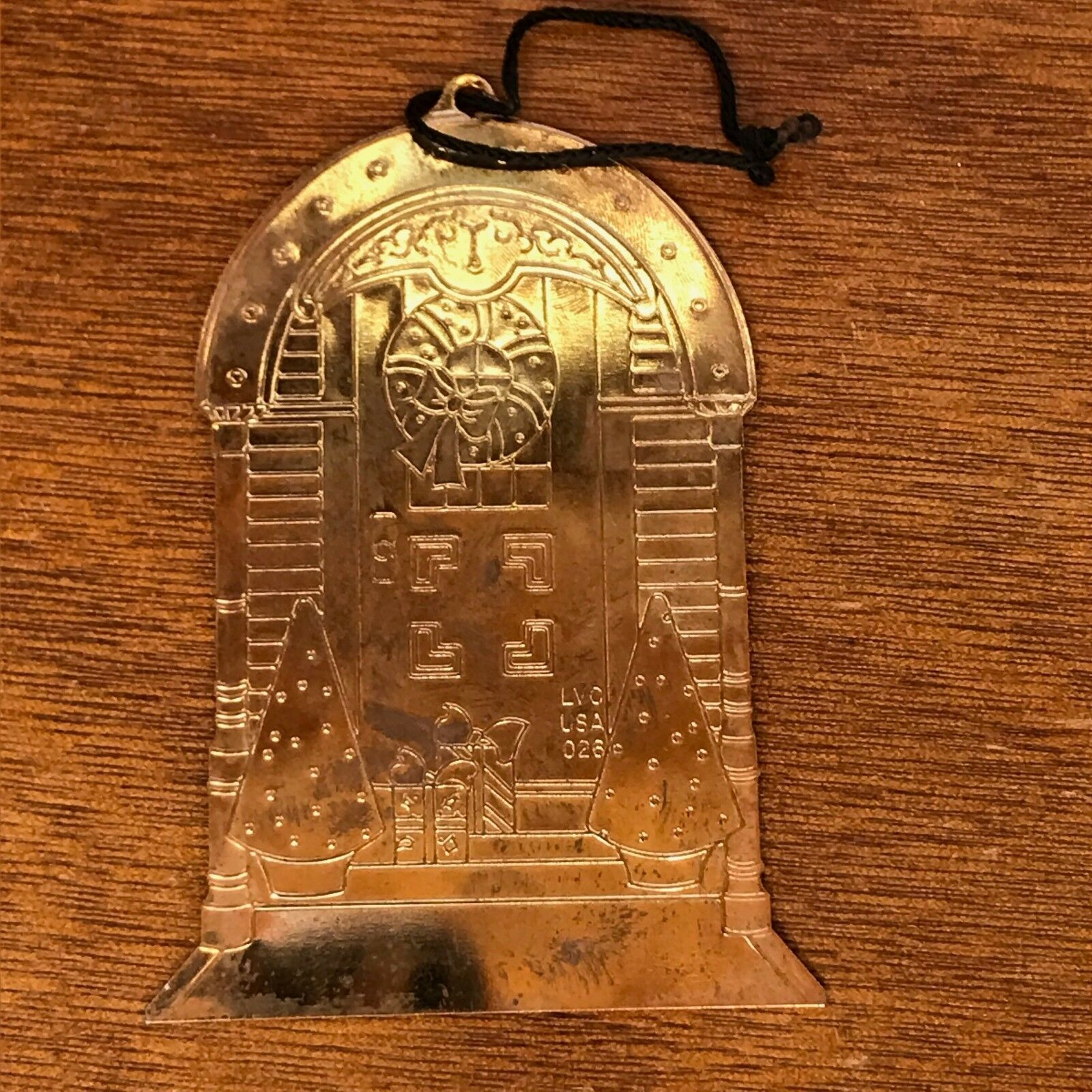 Solid Brass Enamel Doorway with Christmas Trees Packages & Wreath FOSTER CARE Ch