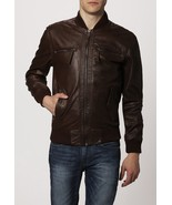 Men Brown Bomber Real Leather Jacket All Size XS S M L XL XXL 3XL 4XL NE... - $139.32+