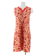 Denim& Co Printed Slvless Dress Solid Trim Coral Multi 1X NEW A288728 - $23.74