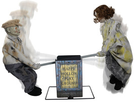 Animated SEE SAW KIDS PLAYGROUND Creepy Music Haunted House Prop - $159.38