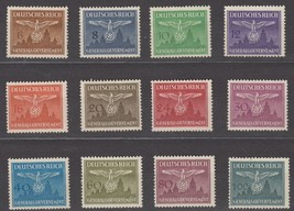 1943 Occupied Poland Set of 12 Official Postage Stamps Catalog NO25-36 MNH