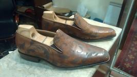 Handmade Cognac Patina Laser Loafers for Men Custom Made Shoes for Men - $210.90 - $249.90