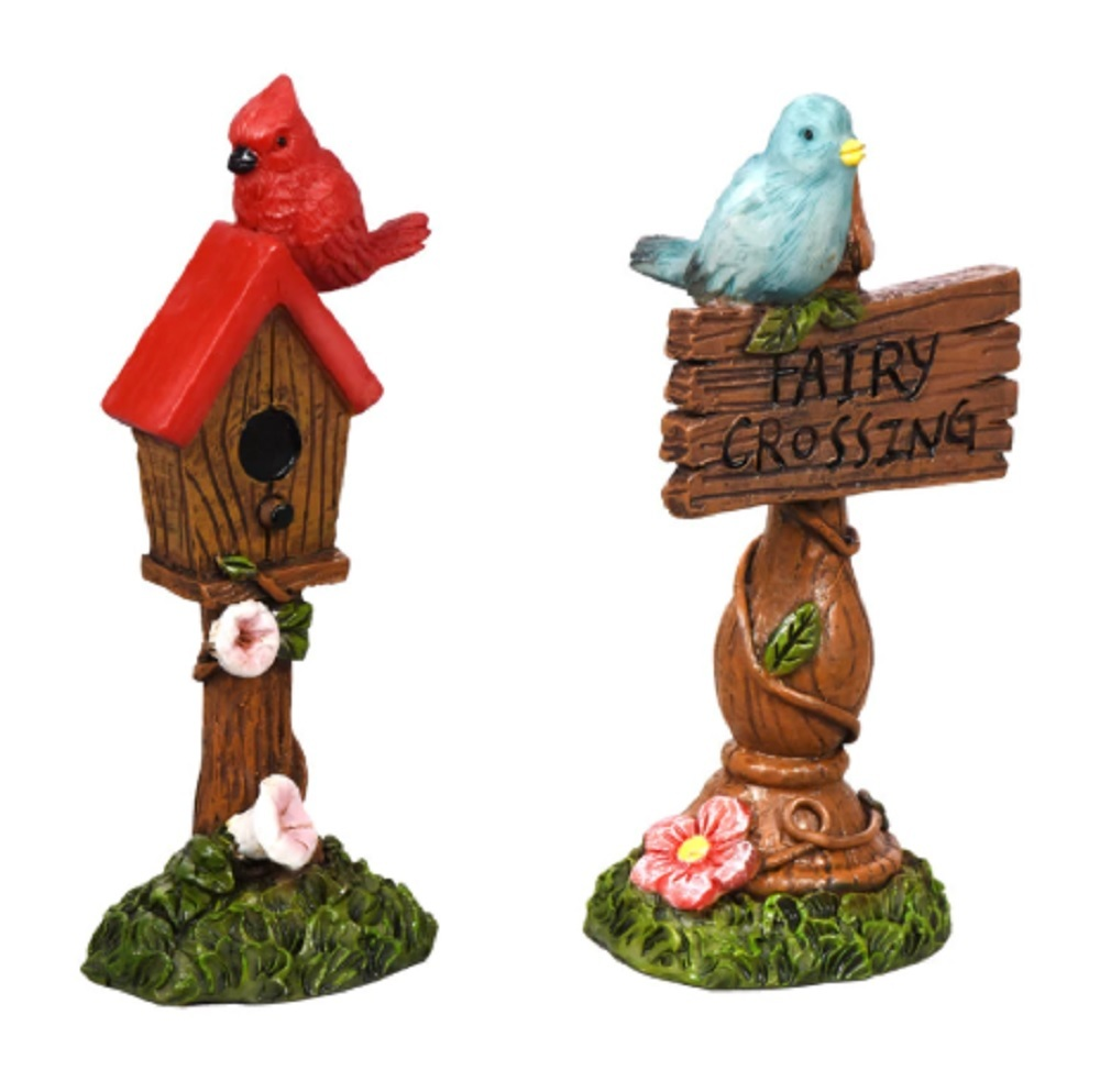"Primary image for Fairy Garden Accessories Set of 2 Signs Fairy Crossing Bird House 4"" polyresin"