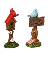 "Fairy Garden Accessories Set of 2 Signs Fairy Crossing Bird House 4"" pol... - $16.99"