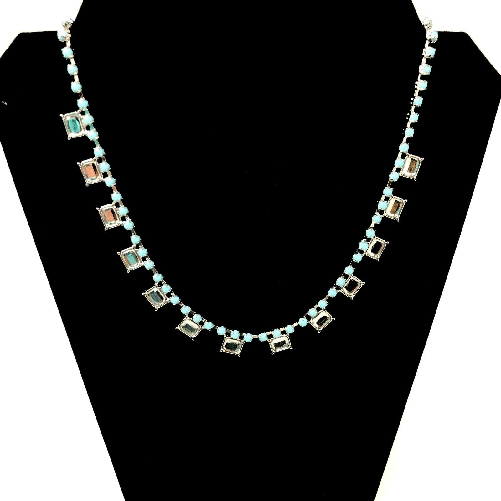 Lia Sophia Necklace Pendant Silver Tone Teal Blue Beads Clear Crystals Damsel - $15.04