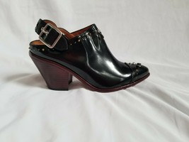 Coach Black Patent leather Studded Western Mule Heeled Clogs Size 6.5 rare - $133.65