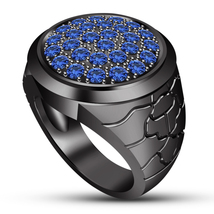 Mens Wedding Anniversary Blue Sapphire Pinky Ring Black Gold Finish 925 ... - $93.73