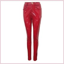 Bright Red Tight Fit Faux Leather High Waist Front Zip Up Legging Pencil Pants image 4