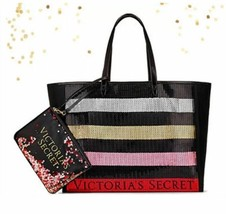NEW Victoria's Secret 2017 Black Friday Bling Tote Bag & Clutch Sequin Red Gold - $19.34